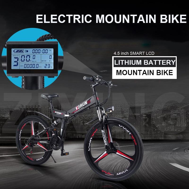 26 inch folding electric mountain bike 48V variable speed Ebike smart lcd ebike Double battery built-in lithium battery 40KM/H ebike lithium battery 72v lithium ion battery pack for electric bike 2000w 3000w