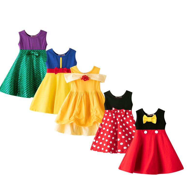 Girls Clothing Belle Mouse-Dress Halloween-Costume Birthday-Dresses Moana Cosplay Snow-White
