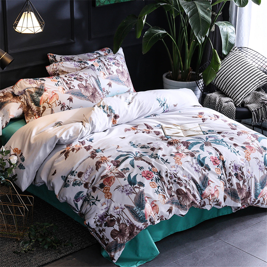 CHAUSUB Style Simple ensemble de literie 4 pièces soie 60 S Satin coton égyptien couverture de lit doux draps plats roi reine taille housse de couette ensembles