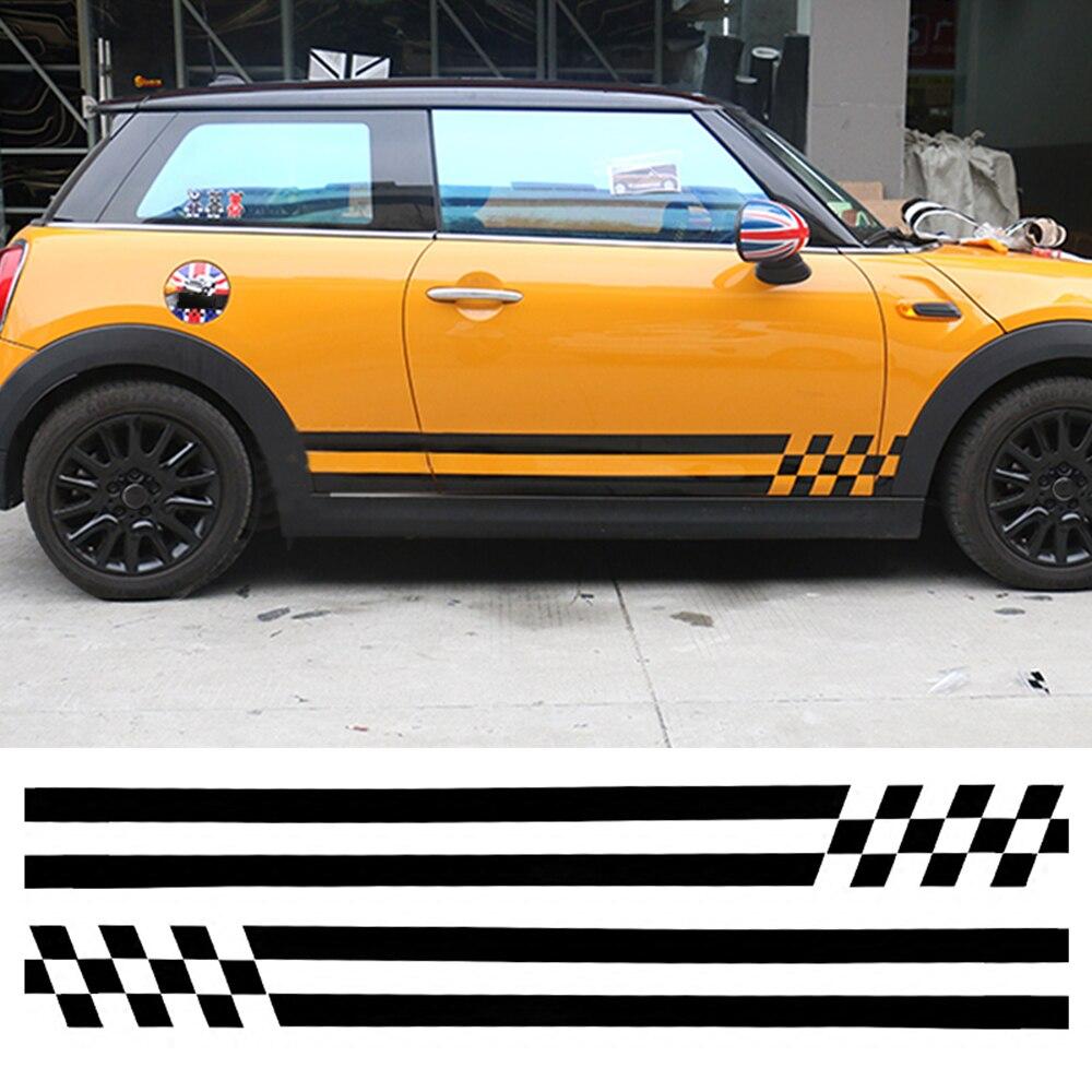 Car Stripes Door Side Skirt Vinyl Decal Sticker For Mini Cooper One Jcw S R60 R55 R56 R61 F55 F56 F54 F60 Countryman Car Styling