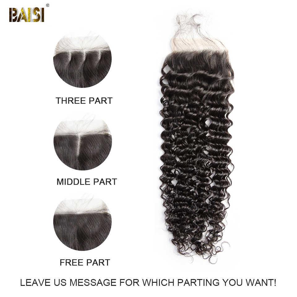 Pelo de BAISI cabello virgen peruano Cierre de encaje rizado 4x4 nudos blanqueados con pelo de bebé 100% cabello humano