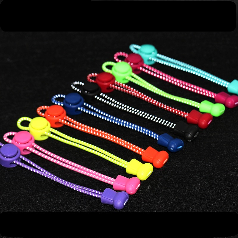 цены Refle tive Shoelace Stretching Lock lace 20 colors a pair Of Locking Shoe Laces Elastic Sneaker Shoelaces Shoestrings Running