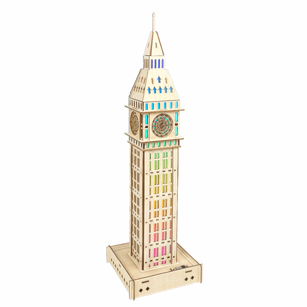 Big Ben atmosphere night light Kids toys 3D Puzzle wooden toys Wooden Puzzle Educational toys for Children verrypuzzle clover octahedron fragmentation magic cube twisty speed puzzle cubes game educational toys for kids children