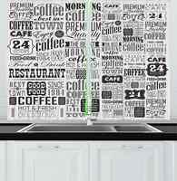 Винтажные кухонные шторы, Ретро стиль, текст и типографские значки, винтажная кофейня, ресторан, окно, Декор, панель, набор для