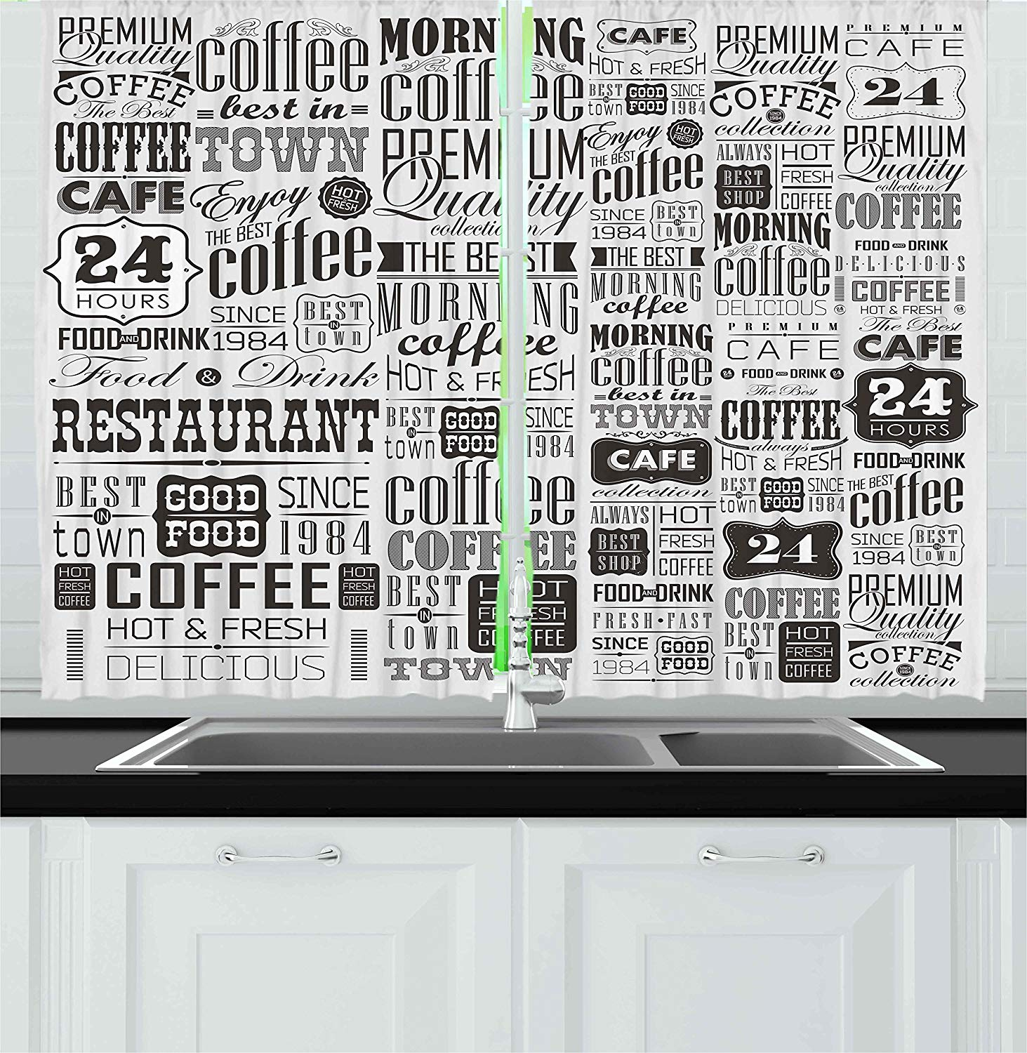 Vintage Kitchen Curtains Retro Style Texts and Typographic Icons Vintage Coffee Shop Restaurant Window Decor Panel Set for|Curtains| |  - title=