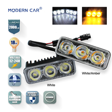 MODERN CAR 18W 2000LM Daytime Running Lights Epistar Chip Universal White Amber 6000K Turn Signal light DRL LED External Lamp