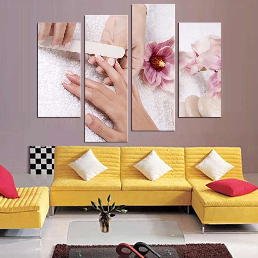 4 Panels Modern Poster Canvas Decorative Painting Beautiful Nail Art Painting  Beauty Makeup Canvas Art Print Poster Home Decor