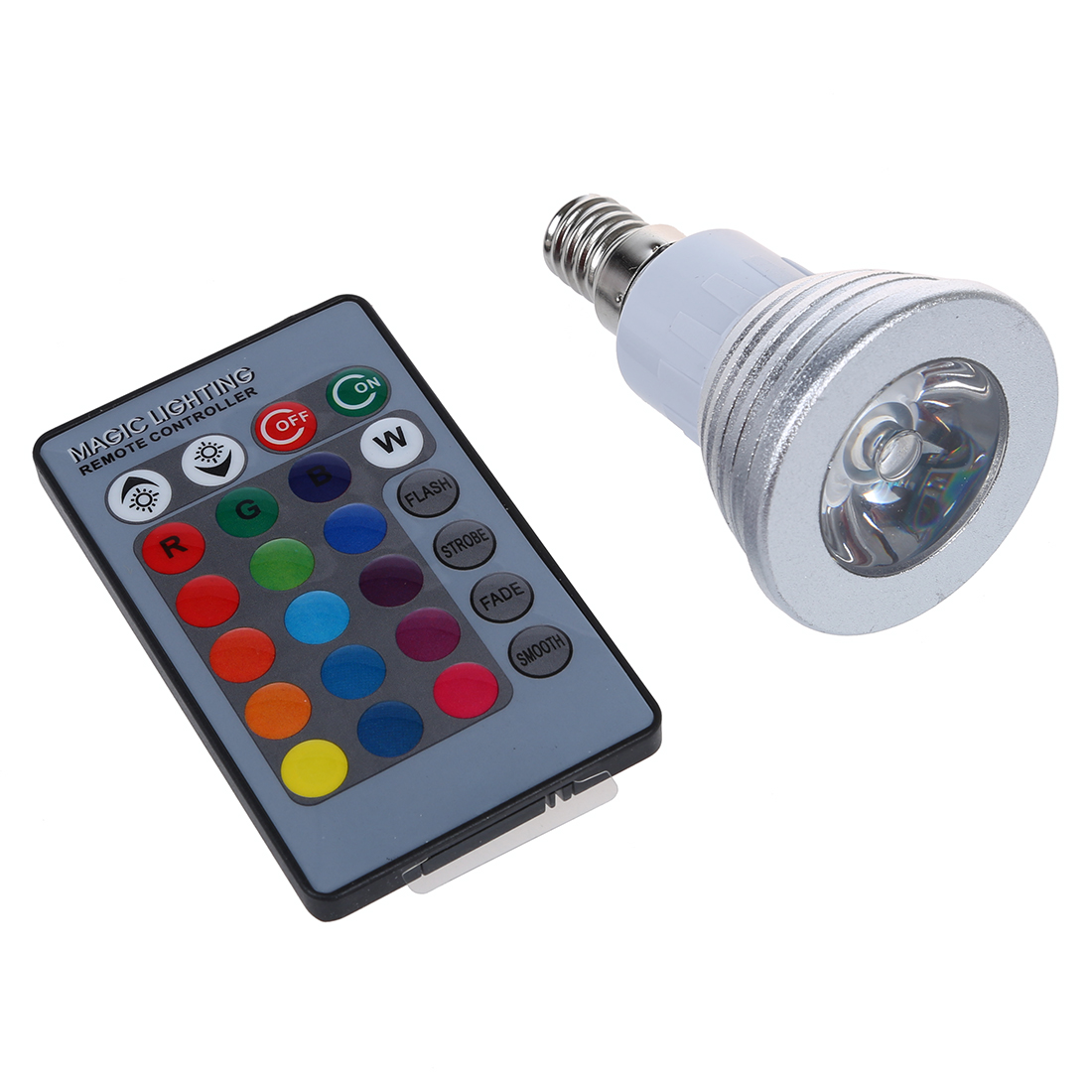 1x E14 3W 16 Color RGB LED Light Bulb Lamp + IR Remote Control