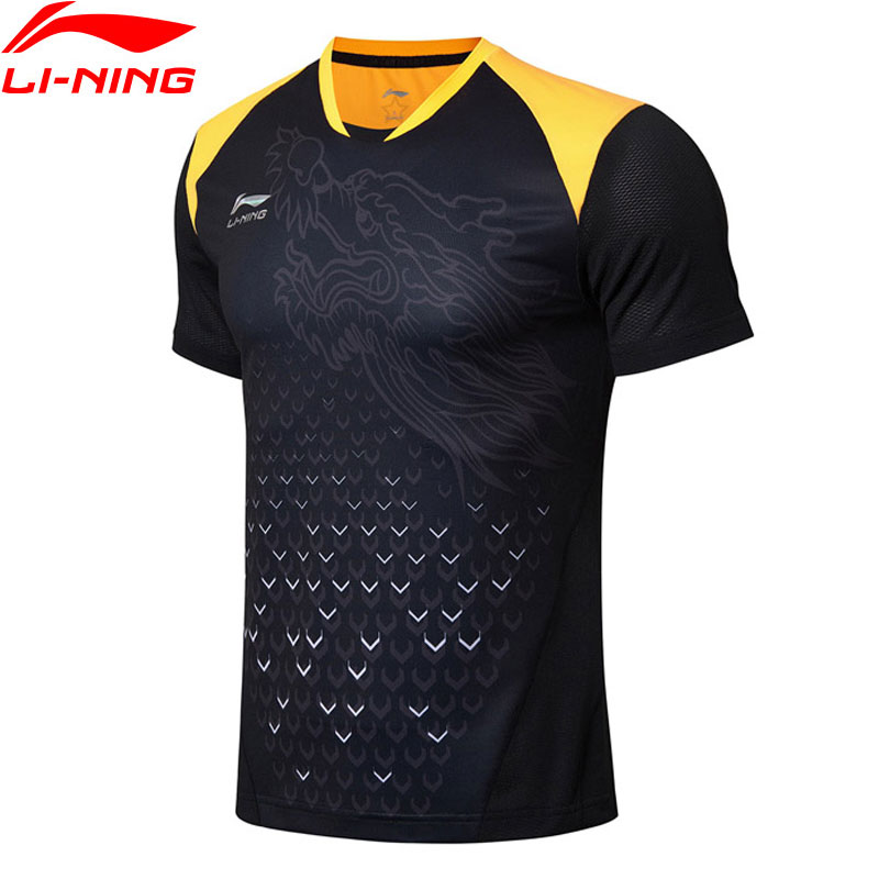 Li-Ning Men Table Tennis T-shirt National Team Sponsor Breathable LiNing Competition Sports T-shirts Tops AAYN175 MTS2776 salmon