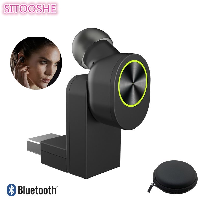 SITOOSHE Mini Bluetooth Earphone Head phone Business with Mic Invisible Wireless Headset Music Earbud Noise Canceling Earphones