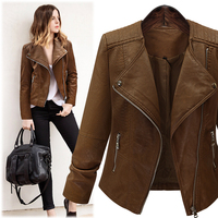 2017 New Women Casual Autumn Winter Basic PU Leather Coat Zipper Top Jacket Suede Full Sleeve Plus Size