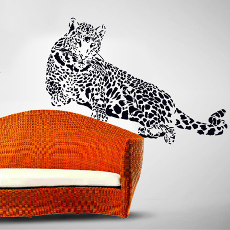 Black pvc wall stickers cheetah leopard 3d removable wall for Home decor 3d stickers