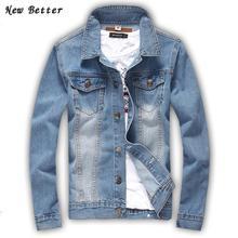 2016 mode für männer Boutique Jeansjacke, männer Washed Lässige European American Klassische Jeans Jacke Männer Plus Größe 5XL
