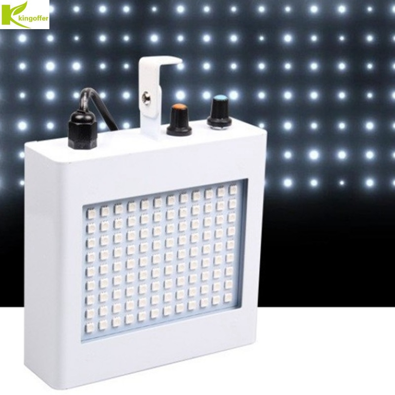 Kingoffer Portable Sound Control 108 RGB/ White SMD5050 LED Disco Party DJ Bar LED Strobe Lamp Music Show Projector Stage Light 100w led strobe lights dmx sound control 100w white lighting disco party dj home music show projector stage light led flash lamp