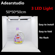 Estúdio caixa de luz caixa de luz caixa de tiro do estúdio 3 DIODO EMISSOR de luz bar 50 cm foto caixa pequeno conjunto fotografia luz led tenda CD50