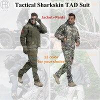 Hot! Army Military Tactical Mężczyźni Boisko Sportowe Zestawy Garniturów Polowanie Camping Wodoodporna Wiatroszczelna Kurtka + Spodnie Lurker Rekina TAD