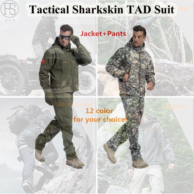 Military Tactical Hunting Clothes Outdoor Sports Suit Hiking Sets Camping Waterproof TAD Sharkskin Softshell Jacket Men Pants
