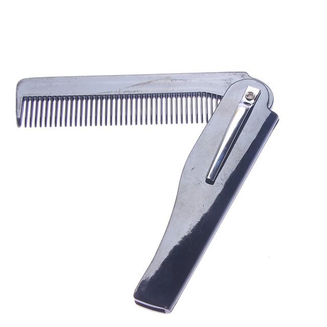 1 Pcs Mens Womens Beauty Handmade Folding Pocket Clip Hair Moustache Beard Comb Free Shipping