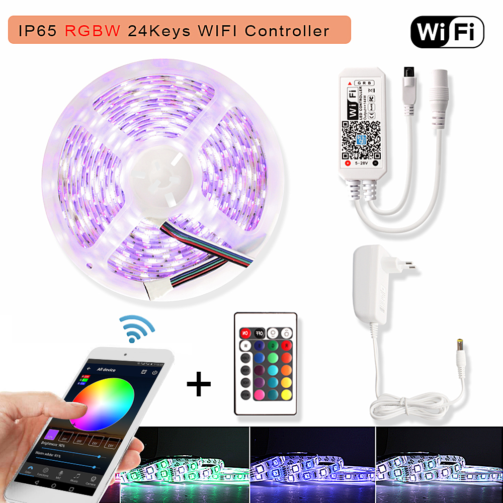 RGBW RGB LED Strip Waterproof 5050 Wifi Tira LED Neon Flex Ribbon Light RGB  Led Stripe Tape + 24Key Controller 12V Power Adapter