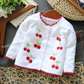 2014 new Spring autumn baby clothing children's outerwear baby sweater girls cherry cardigan sweater coat