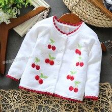 2014 новая Весна осень детская одежда детская верхняя одежда свитер ребенка девушки вишня кардиган свитер пальто