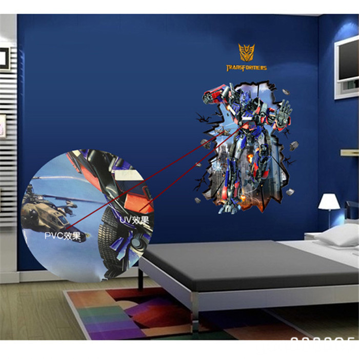 Aliexpress Com Buy Practical 3d Sci Fi Effects Wall Stickers Transformers Superhero Wall Paper Roll Bathroom Waterproof Home Decor New Hgh From Reliable