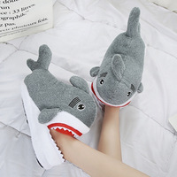 2017 Good Quality Shark Home Slippers Women Men Cotton Warm Short Plush Slippers Indoor Shoes Pantufa