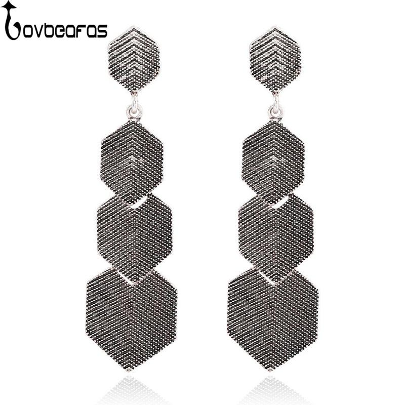 LOVBEAFAS 2018 Fashion Bohemian Drop Earrings For Women Fine Jewelry Vintage Ethnic Gypsy Multi Layer Boho Earrings