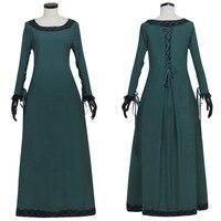 Темно зеленые средневековые платье Ренессанс средневековые ирландский костюм ретро Крестьянская лиф верхняя Косплэй костюм