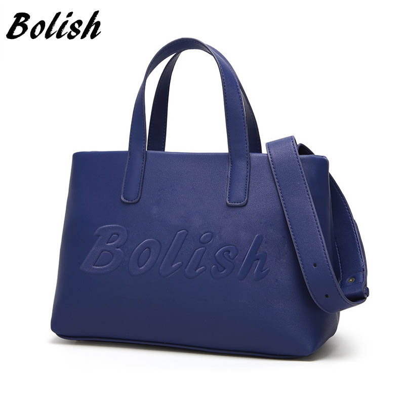 Bolish Women Fashion PU Handväska Kvinnlig Classic Hög Kapacitet Skulväska Brev Daily Crossbody Väska All Purpose Ladies Tassen