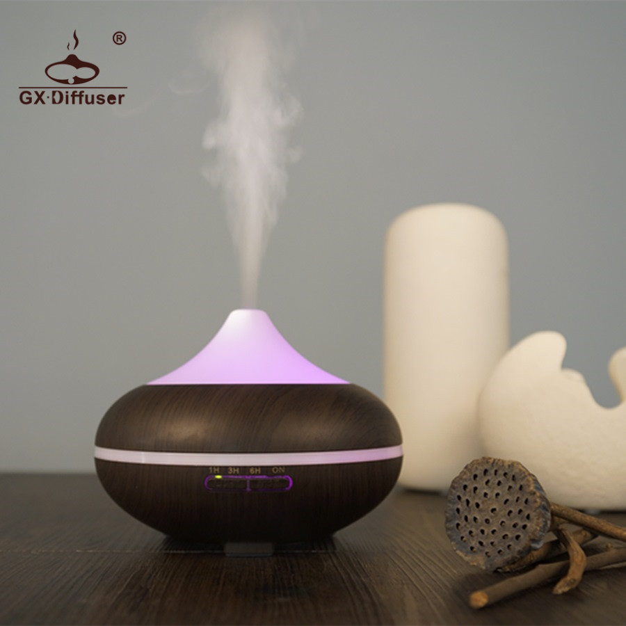 GX.Diffuser 500ml Aroma Diffuser LED Light With 7 Changing Colors Mist Maker Fogger Air Purifier Ultrasonic Humidifier Home Spa crdc air humidifier ultrasonic 100ml aroma diffuser glass essential oil diffuser mist maker with 7 colors changing led light