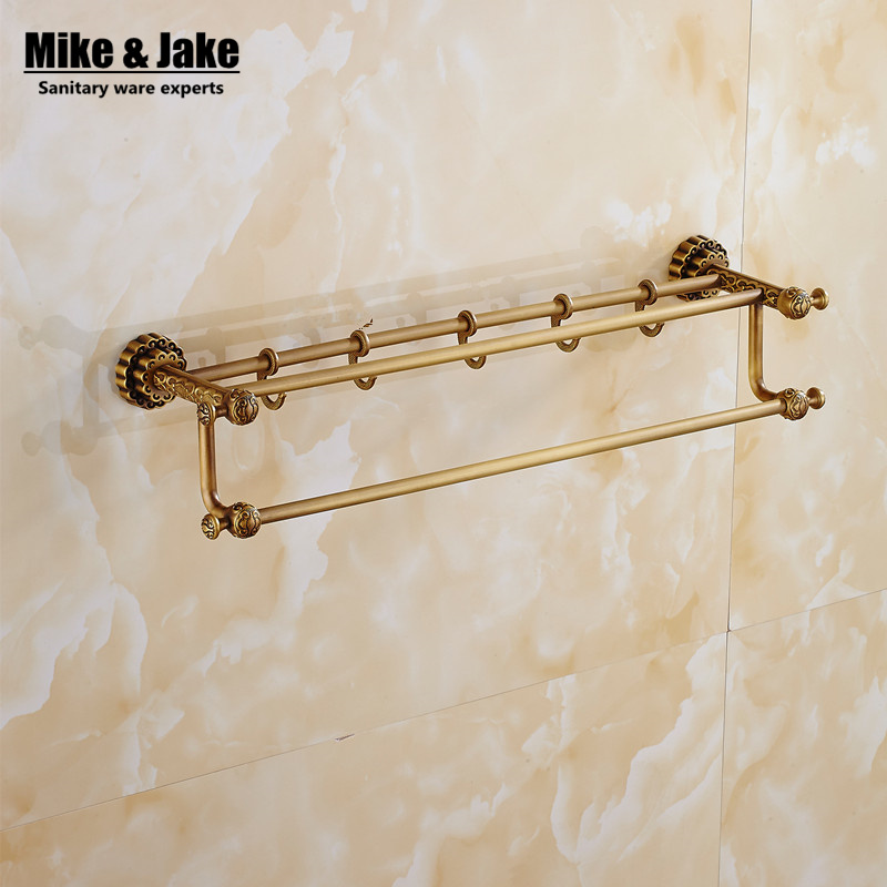 50cm Double towel bar Antique brass 60cm Double towel bars bathroom towel rack wall mounted antique bathroom towel bars high quality towel racks brass 50 60cm antique towel rail copper wall mounted towel bar bathroom f503
