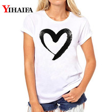 Shirts women 2019 Summer Lovers T-Shirt Lady Casual White Tops Women T Love Heart Print Tshirt Female streetwear