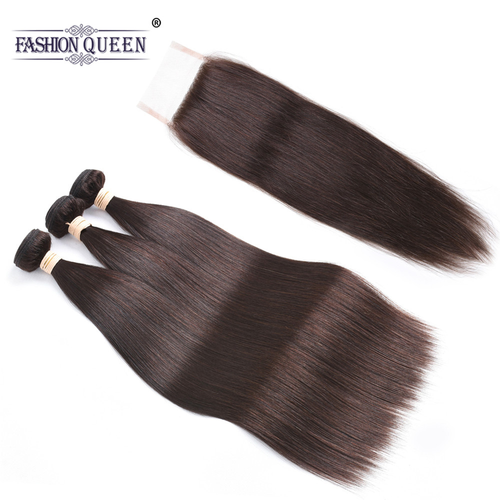 Pre-colored Brazilian Straight Human Hair Bundles with Closure #2 Dark Brown Non-remy Hair Weave 3 Bundles with Closure