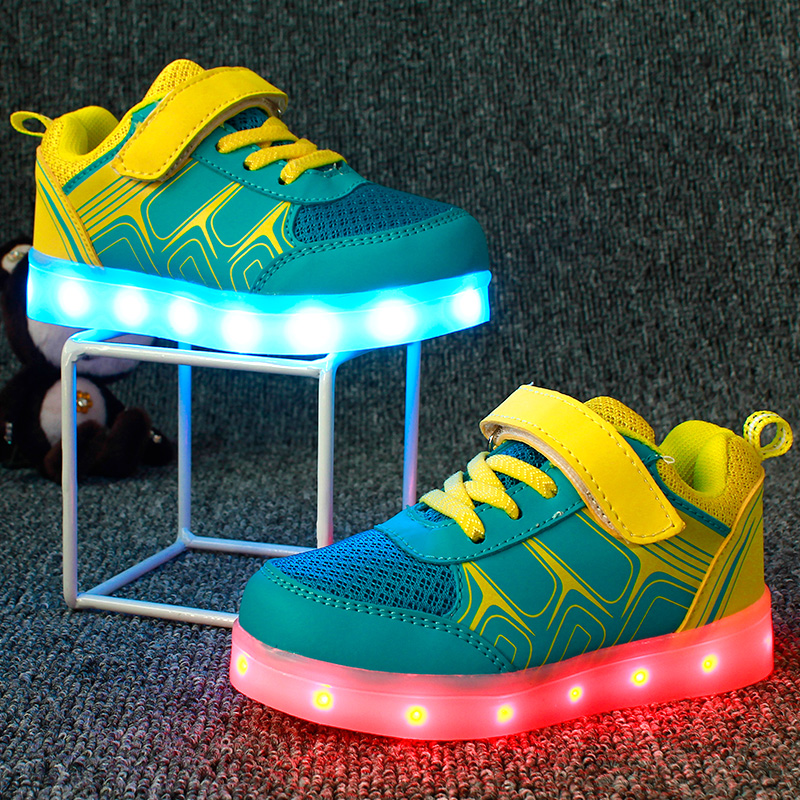 ФОТО USB charging led children shoes kids with light up luminous glowing shoes for boys&girls sneakers