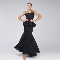 Черный современный Танцы платье стандартные Бальные платья Одежда для танцев бальных танцев конкуренции платья бахрома вальс Платье Фламе