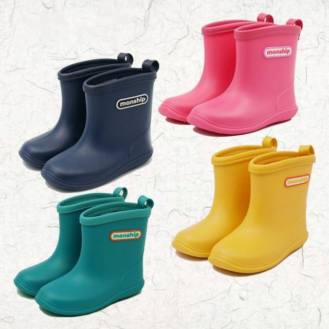 Çocuklar çocuk kauçuk yağmur çizmeleri kız erkek çocuk ayak bileği Rainboots su geçirmez ayakkabı yuvarlak ayak su ayakkabısı yumuşak kauçuk ayakkabı