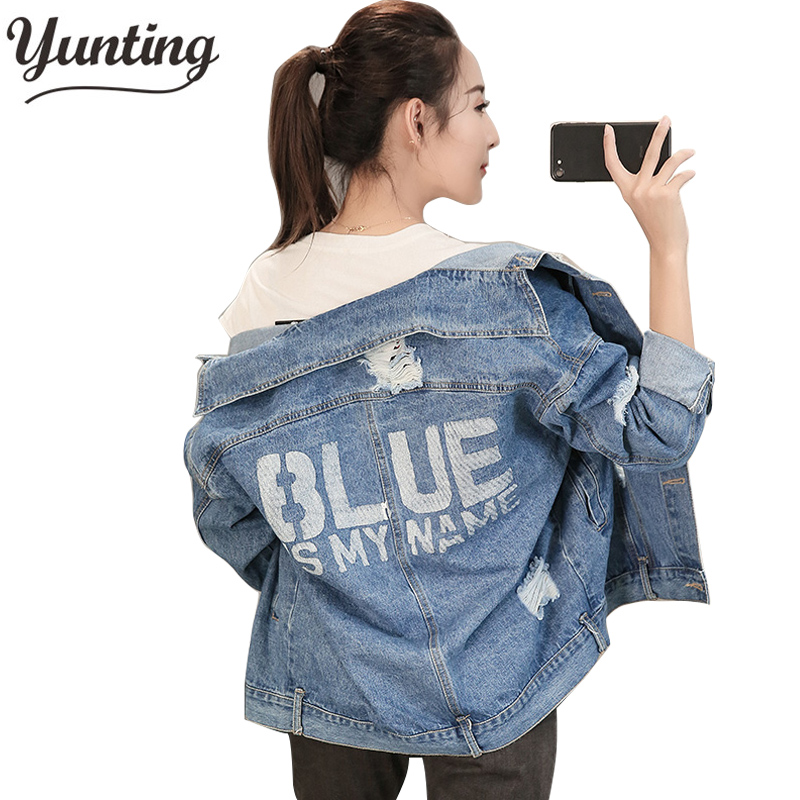 Women Basic Coats Autumn And Winter Women Denim Jacket 2018 Vintage Long Sleeve Loose Female Jeans Coat Casual Girls Outwear