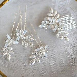 Jonnafe золотистого и серебряного цвета, свадебный гребень для волос, заколки, набор, опал, кристалл, свадебные украшения для волос, аксессуары ...