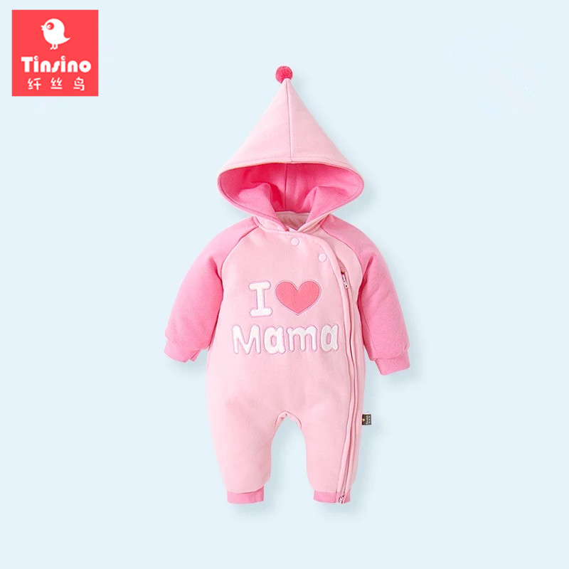 Tinsino Newborn Baby Girls Winter Warm Rompers Infant Autumn Hooded Jumpsuits Toddler Girl Spring Rompers New Born Baby Clothing new 2016 autumn winter kids jumpsuits newborn baby clothes infant hooded cotton rompers baby boys striped monkey coveralls