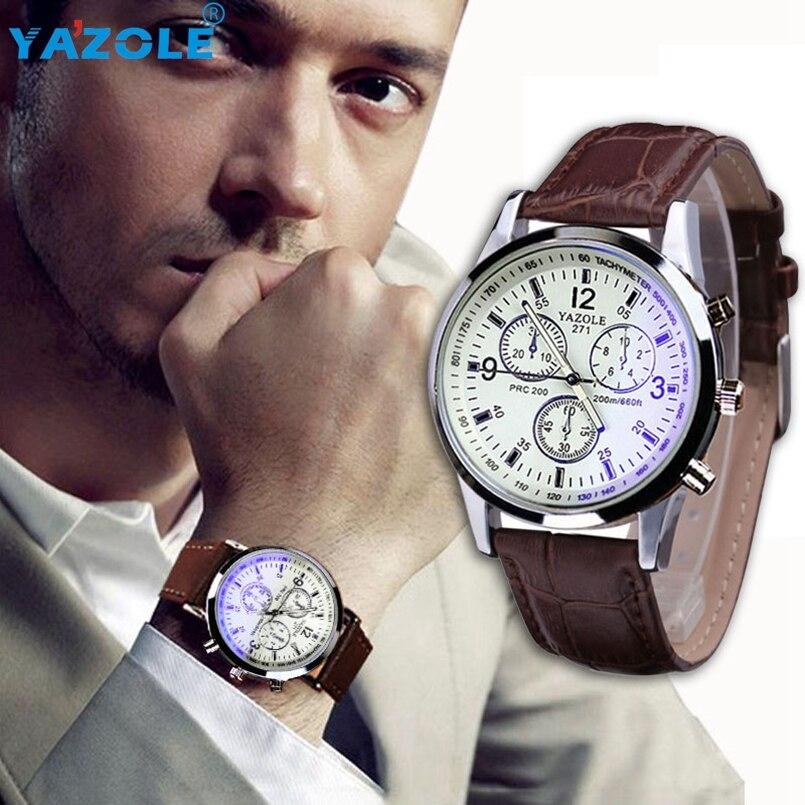 Yazole Men watch Luxury Brand Watches Quartz Clock Fashion Leather belts Watch Cheap Sports wristwatch Relogio Male #A617