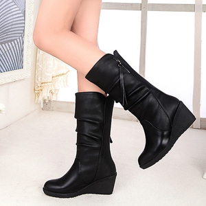 Image 1 - Women Mid Calf Boots Winter Warm Snow Boots Waterproof Pu Leather 6cm High Heel Shoes Woman Platform Wedges Ladies Creepers
