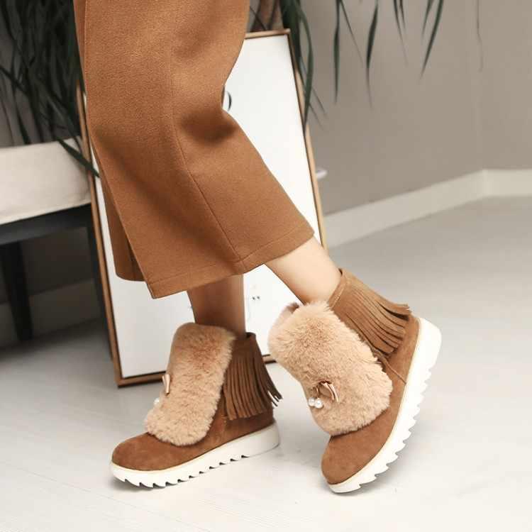 Tamanho grande 11 12 13 Suede rodada cabeça-flat-sola plataforma à prova d' água com franjas pés e grosso- sapatos e botas de sola de algodão