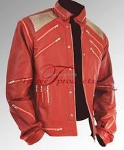 Редкие Классический MJ МАЙКЛ ДЖЕКСОН ПОЛЬЗОВАТЕЛЬСКИЕ Классический Beat It МВ Красный Молния Кожаная Куртка(China (Mainland))