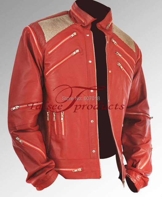 Rare Classic MJ MICHAEL JACKSON CUSTOM Classic Beat It MV Red Zipper Leather Jacket