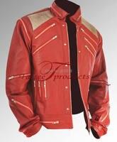 Rare Classic MJ MICHAEL JACKSON CUSTOM Classic Beat It MV Red Zipper Leather Jacket