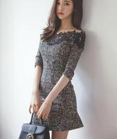 Free Shipping Sexy Hot Sale Slash Neck Half Sleeve Lace Party Queen Woman Slim Dress Grey