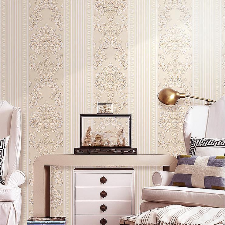 3d Texture European Non-woven Round Mesh Fine Pressed Superposition, Foaming Plain Wallpaper Bedroom High-end Home Decoration