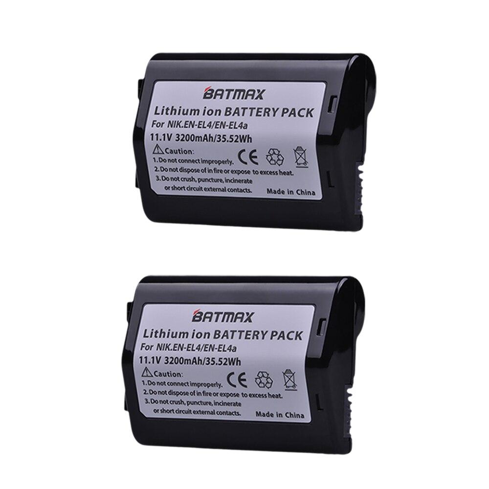 2Pcs 11.1V 3200mAh EN-EL4 EN EL4 EN-EL4a ENEL4a Camera Battery Bateria Akku For Nikon D2H D2Hs D2X D2Xs D3 D3S F6 MH-21 Cameras