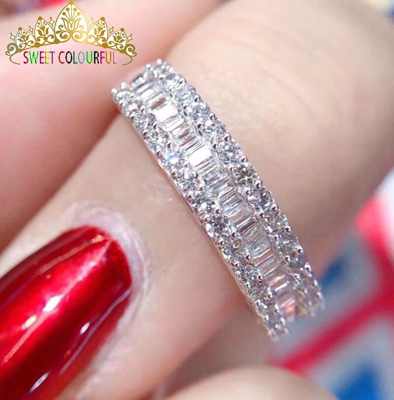 الزفاف 100% مويسانيتي الماس خاتم حقيقية 18K 750 الأبيض الذهب D اللون VVS مو 003-في خواتم من الإكسسوارات والجواهر على  مجموعة 1